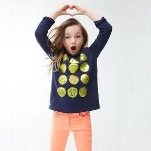 NWT Crewcuts Girls' Long-Sleeve Emoji T-Shirt